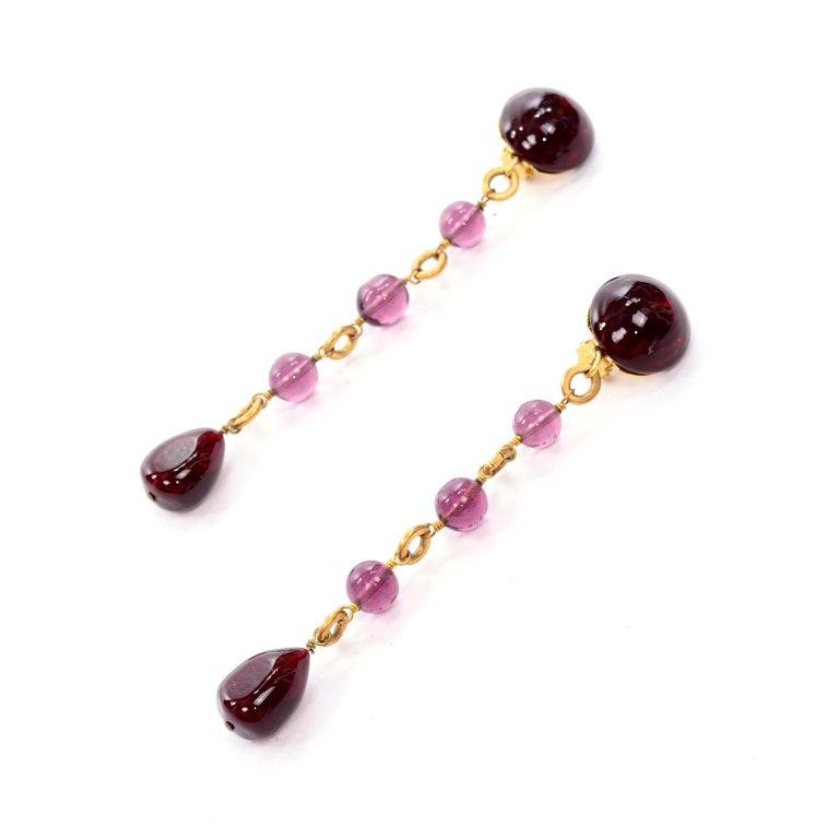Vintage Chanel Gripoix Purple Drop Gold Earrings Victoire de Castellane  For Sale 2