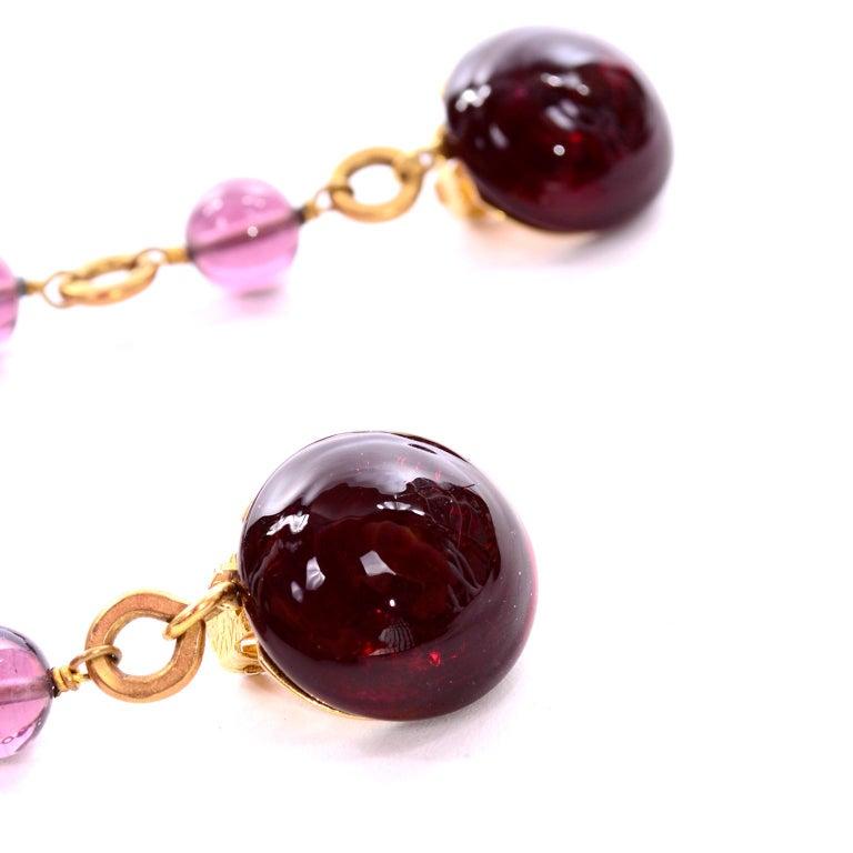 Vintage Chanel Gripoix Purple Drop Gold Earrings Victoire de Castellane  For Sale 3