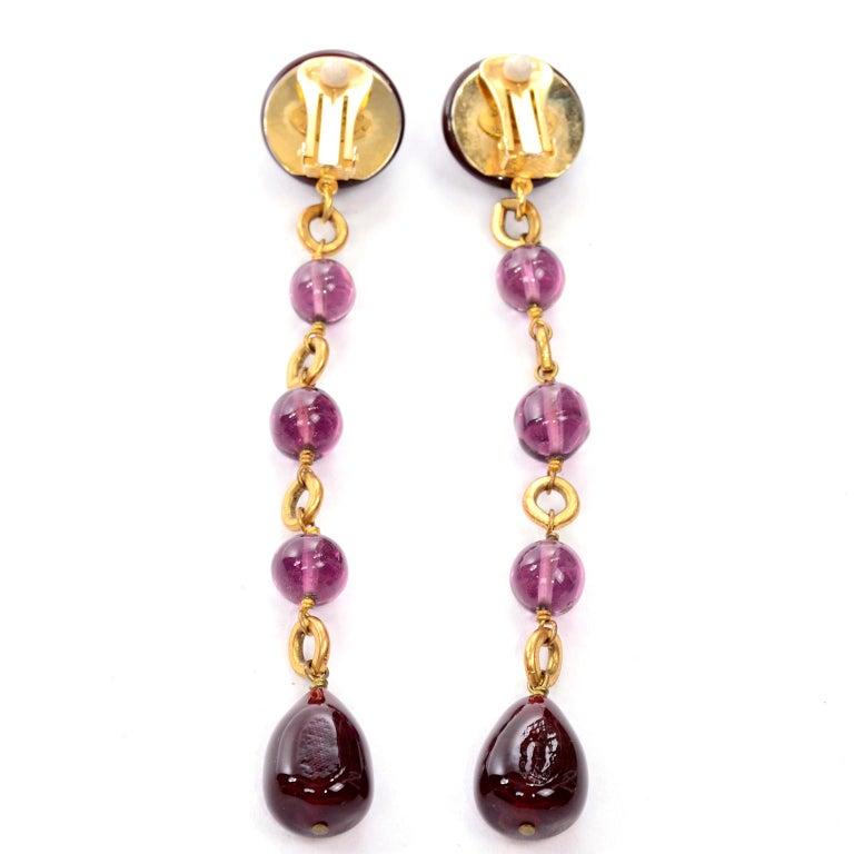 Vintage Chanel Gripoix Purple Drop Gold Earrings Victoire de Castellane  For Sale 4
