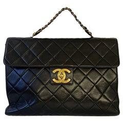 Vintage Chanel handbag two side - black Lambskin Leather - Large