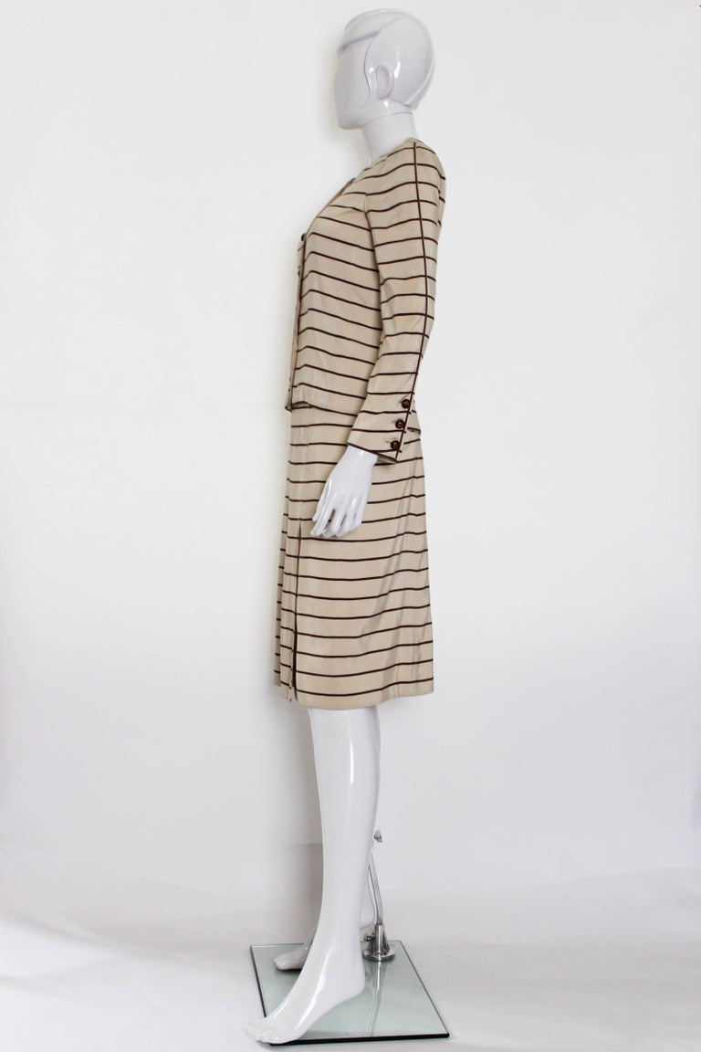 Beige Vintage Chanel Haut Couture Skirt Suit 1974 For Sale