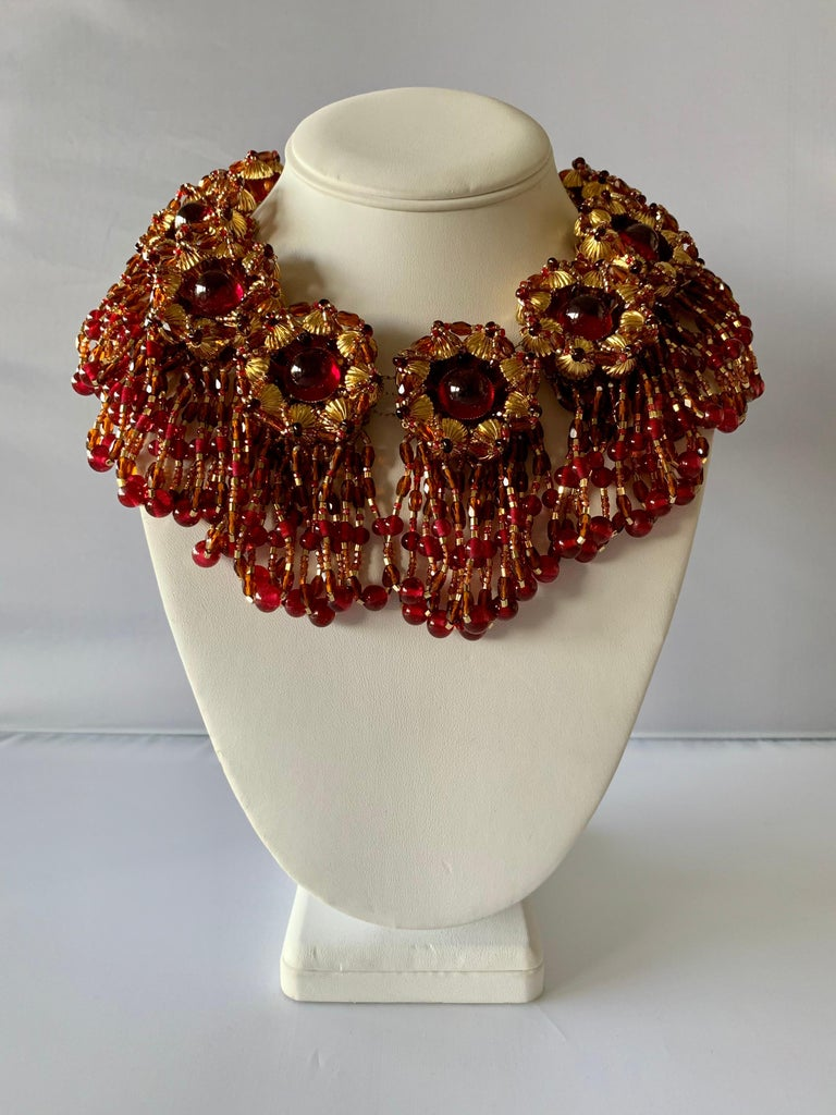 Monumental (one a kind) vintage haute couture beaded bib statement necklace, by William de Lillo for Coco Chanel haute couture circa 1980. Comprised out of gilt metal dore (14k plate) the necklace features eleven large round beaded segments, which