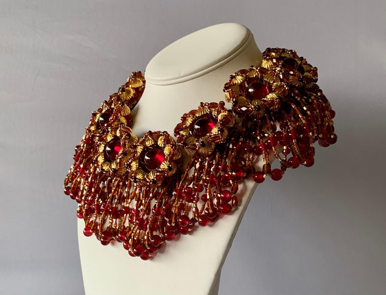 Artisan Vintage Chanel Haute Couture Gold and Red Fringe Statement Necklace