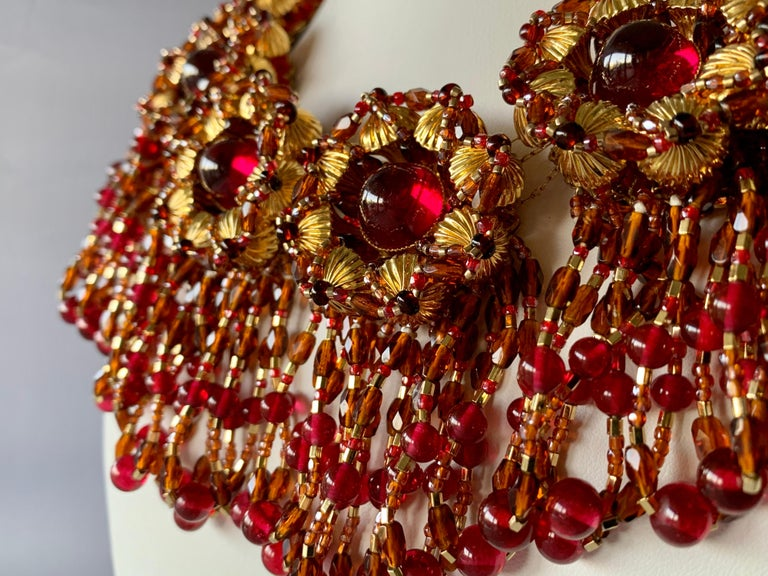 Vintage Chanel Haute Couture Gold and Red Fringe Statement Necklace  In Excellent Condition In Palm Springs, CA