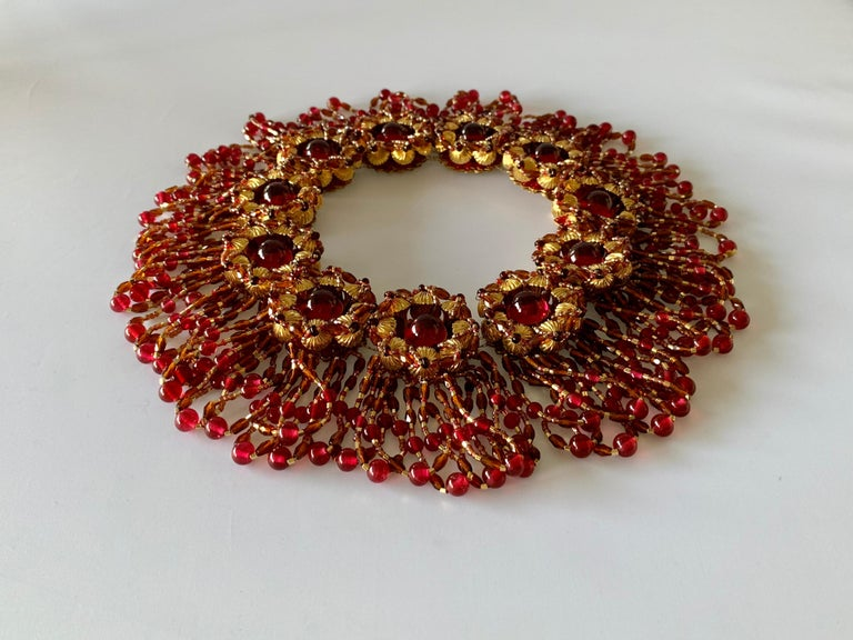 Women's Vintage Chanel Haute Couture Gold and Red Fringe Statement Necklace