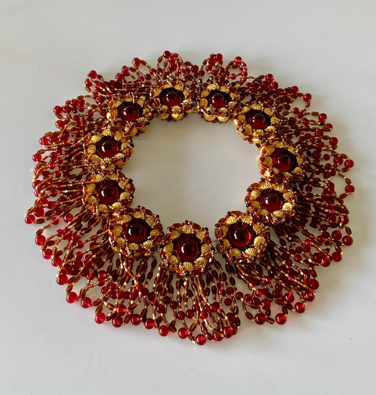 Vintage Chanel Haute Couture Gold and Red Fringe Statement Necklace  1