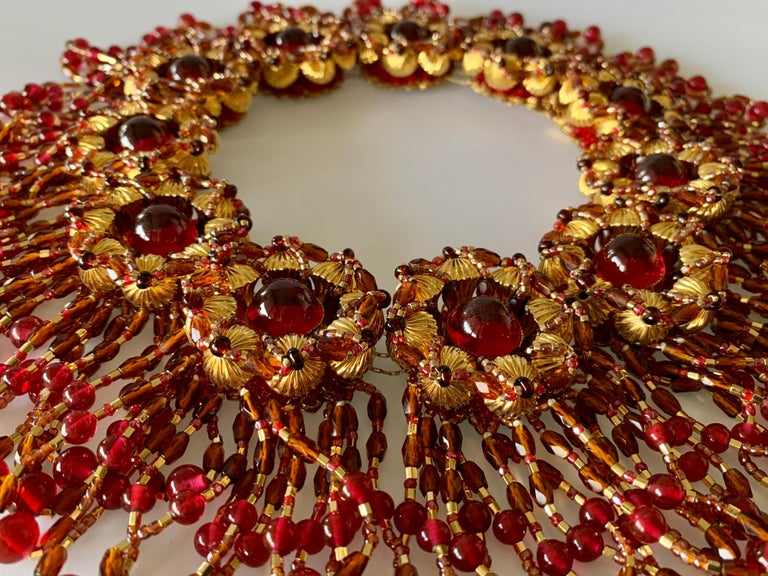 Vintage Chanel Haute Couture Gold and Red Fringe Statement Necklace  2