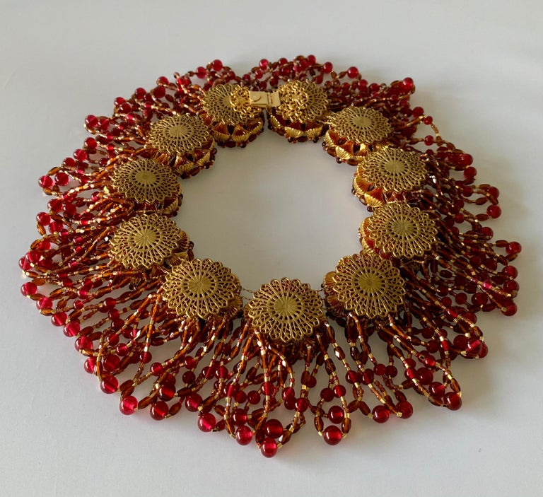 Vintage Chanel Haute Couture Gold and Red Fringe Statement Necklace  3