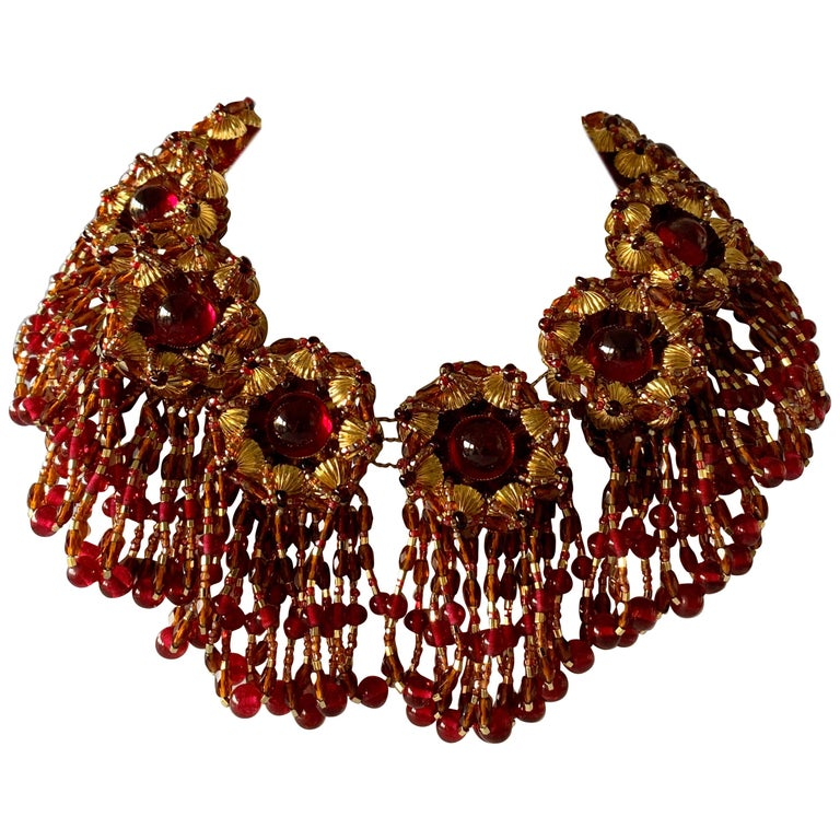 Vintage Chanel Haute Couture Gold and Red Fringe Statement Necklace