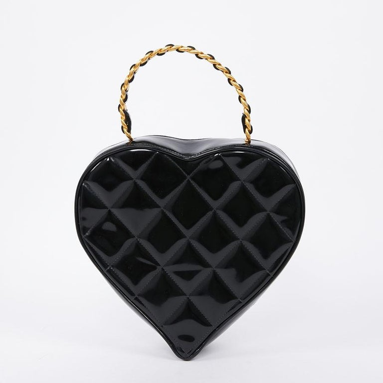 Black  Vintage CHANEL Heart Bag For Sale