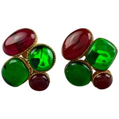 Vintage CHANEL Iconic Green Red Gripoix Poured Glass Earrings