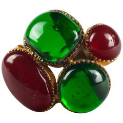 Vintage CHANEL Iconic Green Red Gripoix Poured Glass Pendant Brooch