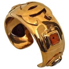 Vintage CHANEL Iconic Gripoix Logo Bracelet Cuff