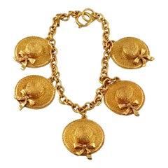 Vintage CHANEL Iconic Sun Hat Charm  Necklace