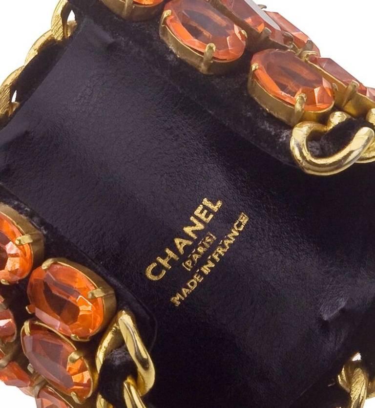 Vintage Chanel Important Massive Rhinestone Bangle In Excellent Condition For Sale In Chicago, IL