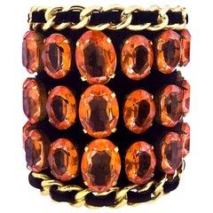 Vintage Chanel Important Massive Rhinestone Bangle