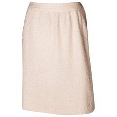 Vintage Chanel Ivory Boucle Skirt