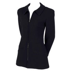 Chanel Vintage Black Wool Blazer Jacket with Zip Front, Autumn 1997