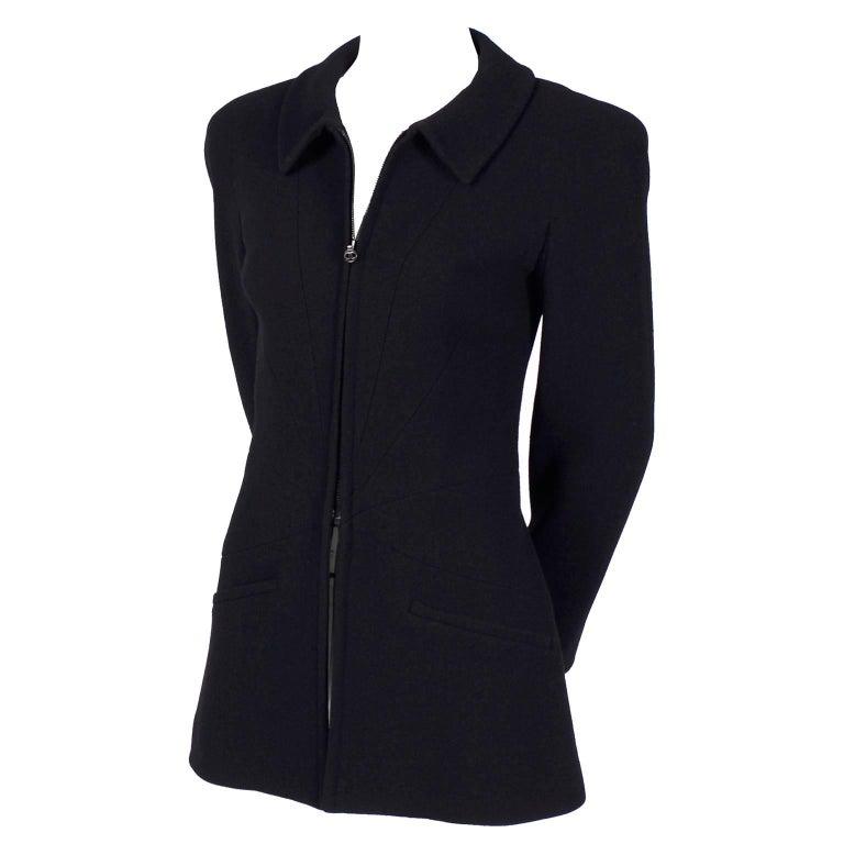 Chanel Vintage Black Wool Vintage Blazer Jacket with Zip Front, Autumn 1997