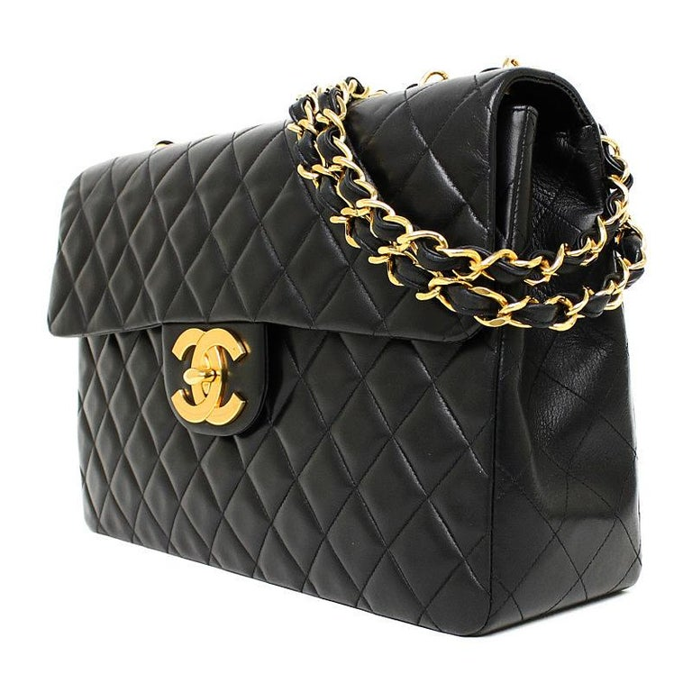 Vintage Chanel Lambskin Jumbo Classic Flap Bag XL Black In Excellent Condition For Sale In Hiroshima City, JP