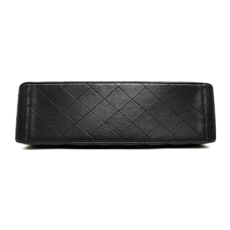 Vintage Chanel Lambskin Jumbo Classic Flap Bag XL Black For Sale 2