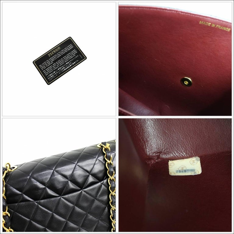 Vintage Chanel Lambskin Jumbo Classic Flap Bag XL Black For Sale 4