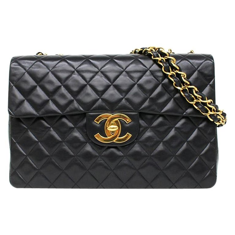 Vintage Chanel Lambskin Jumbo Classic Flap Bag XL Black For Sale