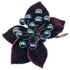 Vintage Chanel Large Deep Purple Silk Velvet Corsage Brooch 1980s