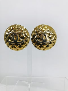 Vintage Chanel Large Round Goldtone Quilted Logo Clip Back Earrings 1960s