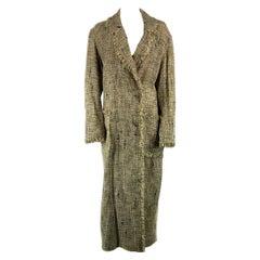 Vintage CHANEL Lightweight Beige Tweed Maxi Coat Size 38