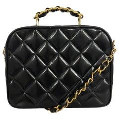 Vintage Chanel Limited Edition Crossbody bag in black Enamel leather
