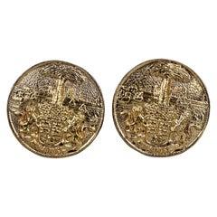 Vintage CHANEL Lion Crest Logo Medallion Earrings