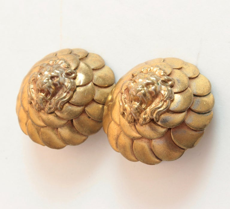 Vintage Chanel Lion Head Earrings Clip Style Rare 1970s In Fair Condition For Sale In Port Saint Lucie, FL