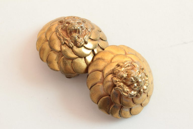 Vintage Chanel Lion Head Earrings Clip Style Rare 1970s For Sale 1