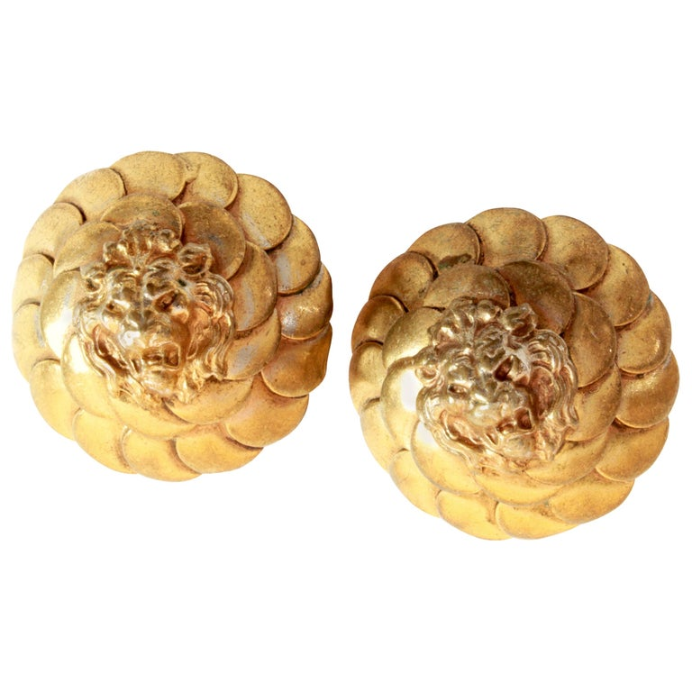 Vintage Chanel Lion Head Earrings Clip Style Rare 1970s For Sale