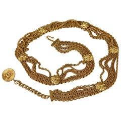 Vintage CHANEL Lion Head Medallion Belt