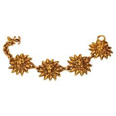 Vintage CHANEL Lion Head Sun Medallion Bracelet