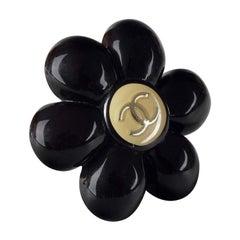 Vintage CHANEL Logo Black Camellia Resin Brooch