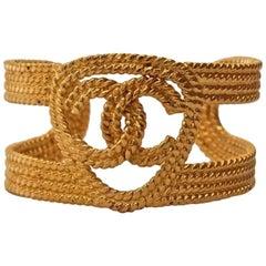 Vintage CHANEL Logo Braided Cuff Bracelet