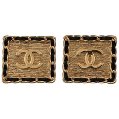 Vintage CHANEL Logo Chain Leather Square Earrings
