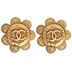 Vintage Chanel Logo Clip-On Statement Earrings