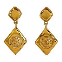 Vintage CHANEL Logo Diamond Shape Dangling Earrings