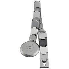 Vintage CHANEL Logo Futuristic Matte Silver Articulated Belt