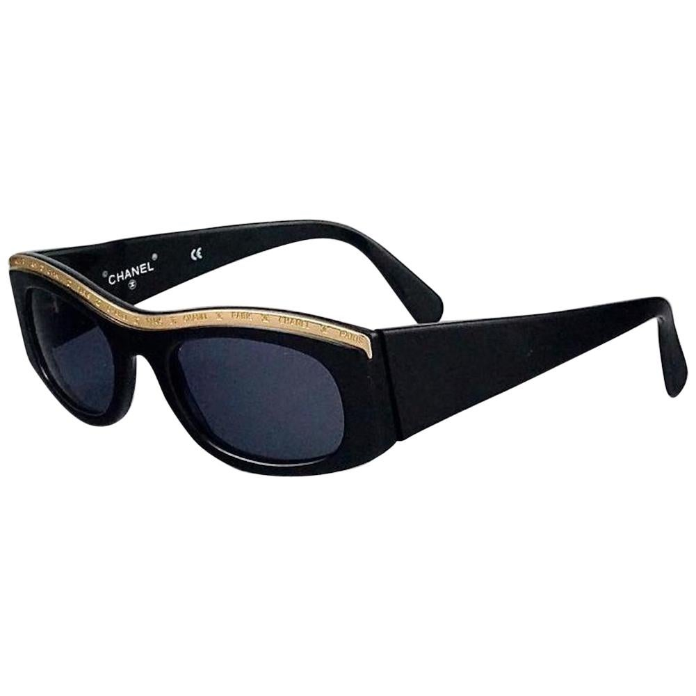 Vintage CHANEL Logo Gold Metal Top Rim Sunglasses