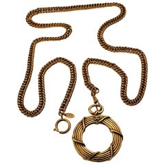 Vintage CHANEL Logo Magnifying Glass Chain Necklace