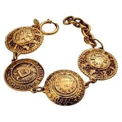 Vintage CHANEL Logo Medallion Bracelet