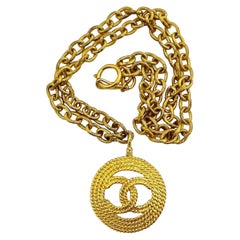 Vintage CHANEL Logo Medallion Necklace