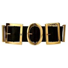 Vintage CHANEL Logo Multi Buckle Leather Cuff Bracelet
