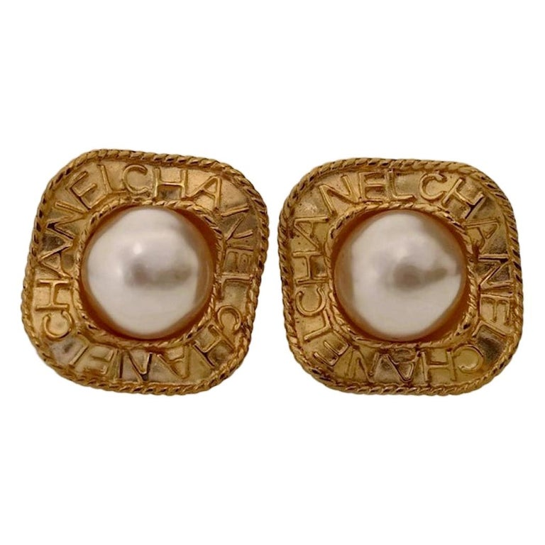 Vintage CHANEL Logo Pearl Concave Earrings For Sale
