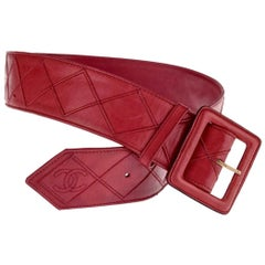 Vintage CHANEL Logo Quilted Red Belt